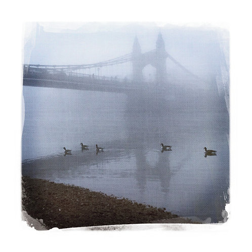Hammersmith bridge in the fog