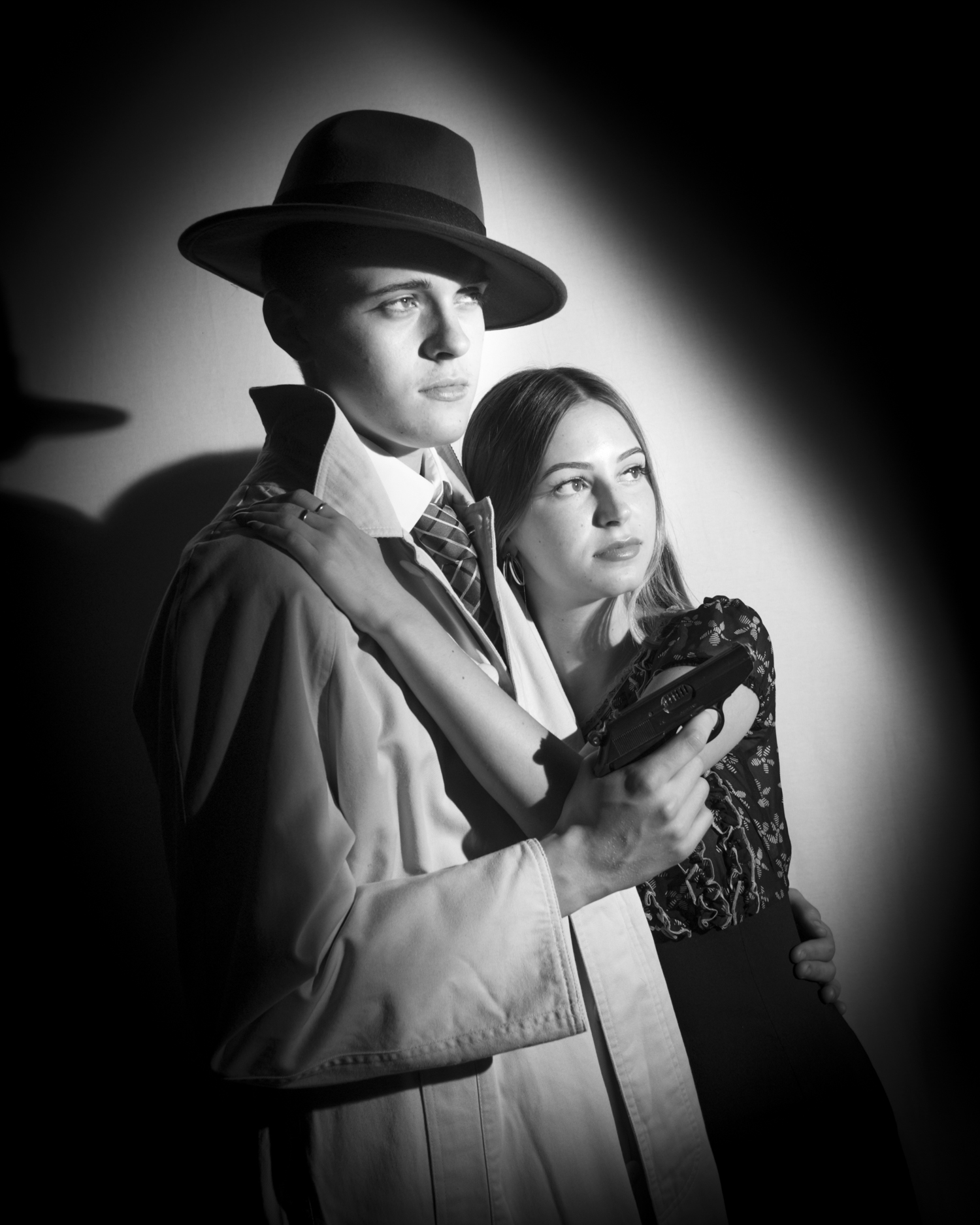 Black and white film noir prints