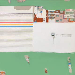 House Story-Survival of this Era 130x130.6cm,Acrylic mixed various paint materials on paper.2020