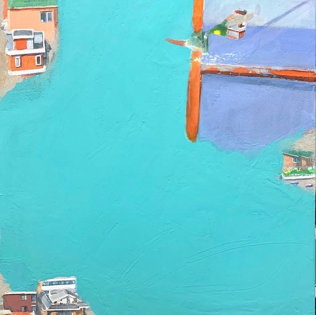 Chunmae Park ,A House Story 65.1x53cm Acrylic & Mixed media on Arches panel 2019