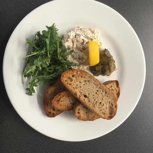 Smoked Mackerel Pate, Sour Dough Toast & Sweet Pickled Cucumber
