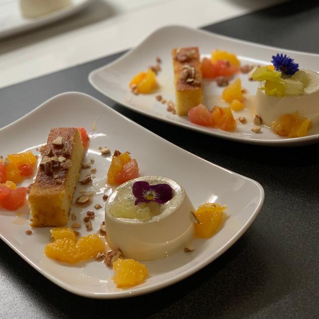 Lemon Panna Cotta, Orange & Almond Syrup Cake, Citrus Salad