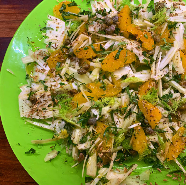 Fennel & Orange Salad with Fresh Herbs, Capers & Toasted Fennel Seeds