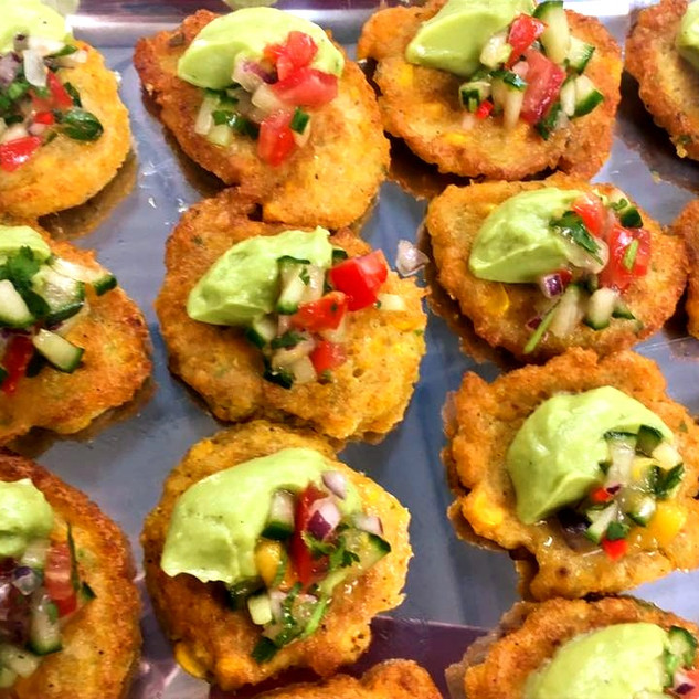 Vegan Corn Fritters with Guacamole and a Mango & Tomato Salsa