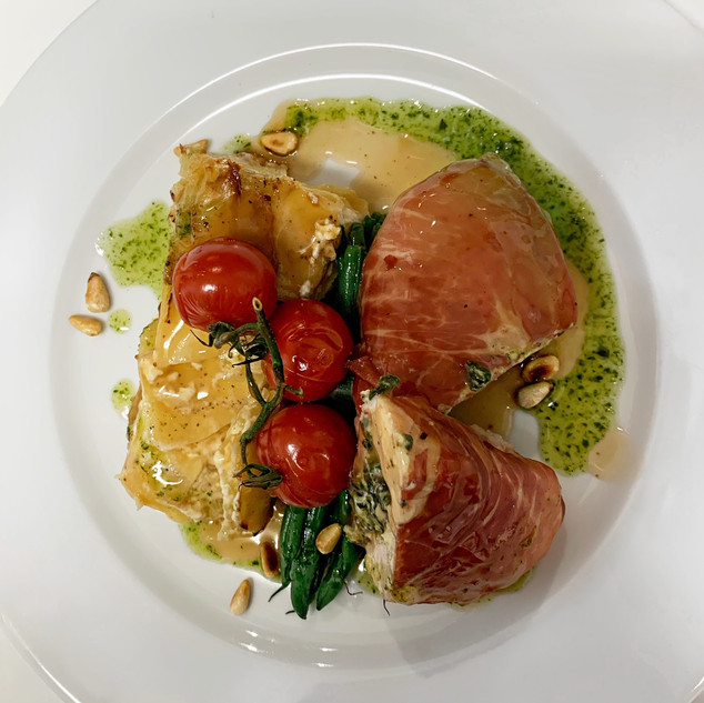 Chicken Breast stuffed with Ricotta & Spinach wrapped in Parma Ham