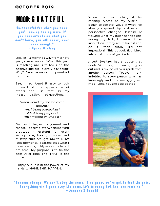 The Blue Print | October 2019 | Page 2 | Mood: Grateful