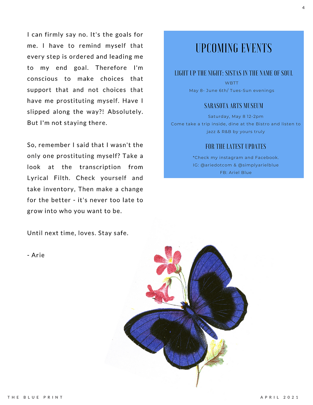 The Blue Print | April 2021 | Prostitution & Upcoming Events