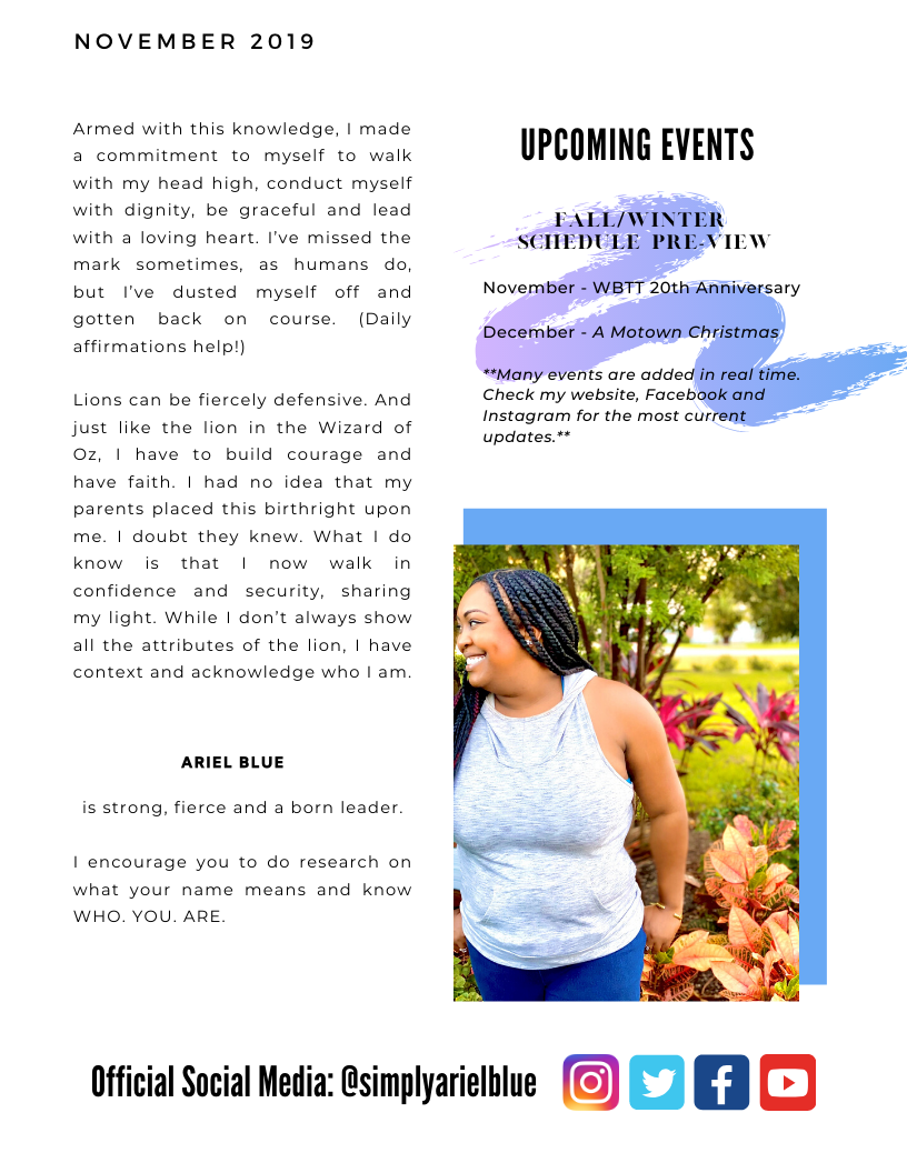 The Blue Print | November 2019 | Page 2 | Who Are You finale & Upcoming Events