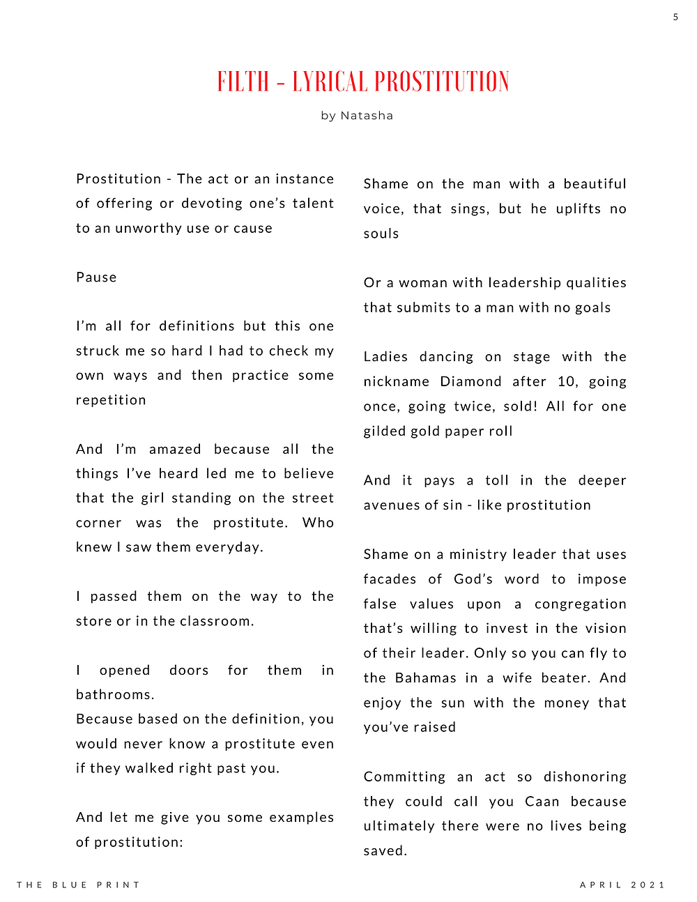 The Blue Print | April 2021 | Filth - Lyrical Prostitution by Natasha