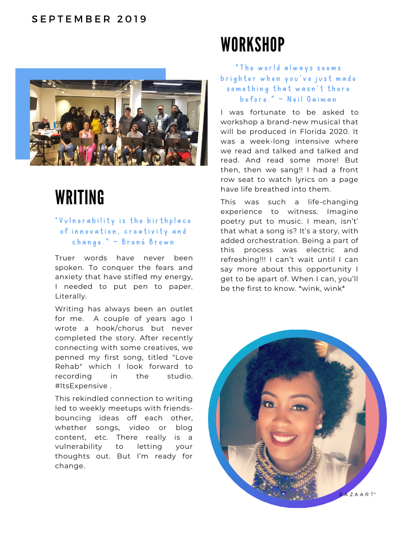 The Blue Print | September 2019 | Page 1 | Writing & Workshop