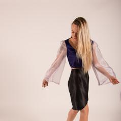 Satin and Organza top and skirt set.