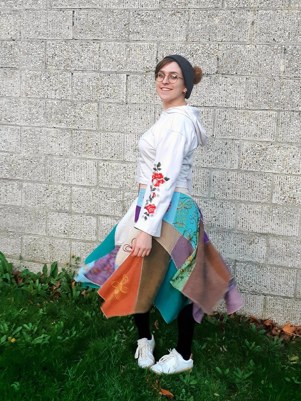 60s patchwork skirt embroidered jumper