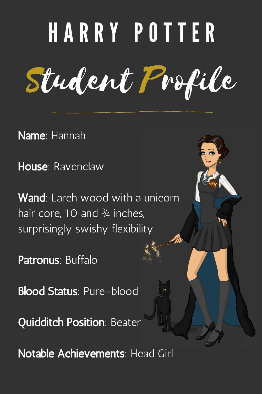 Harry Potter Hogwarts Student Profile Card