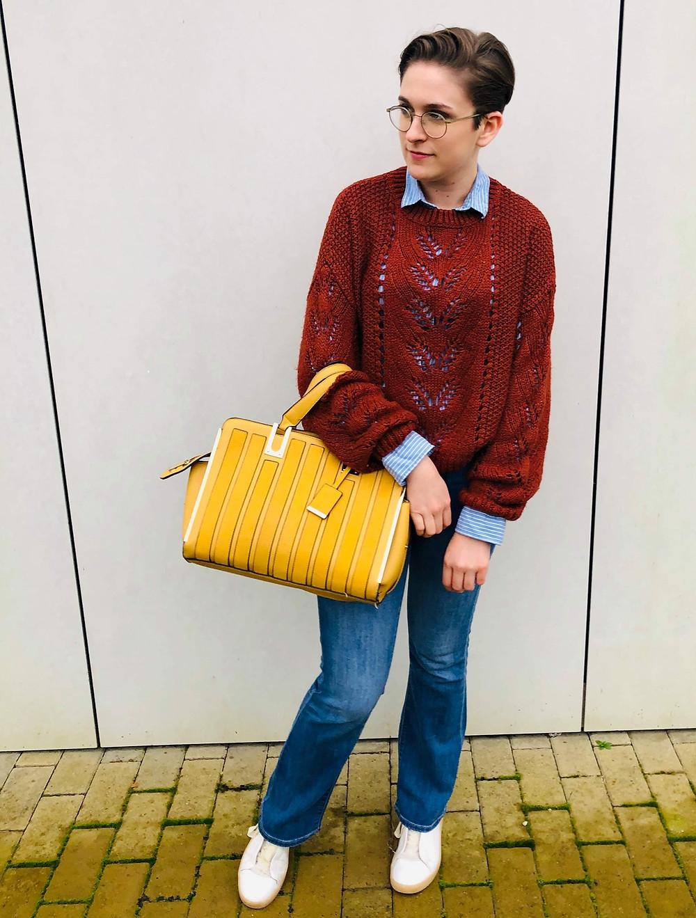 peter pan collared jumper and mustard bag