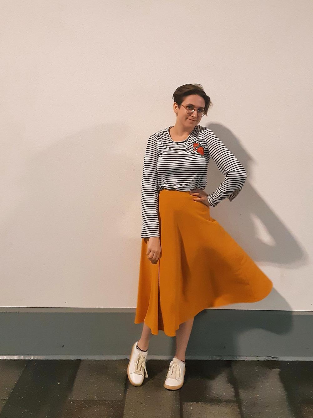 stripey tshirt embroidered tee mustard yellow midi skirt