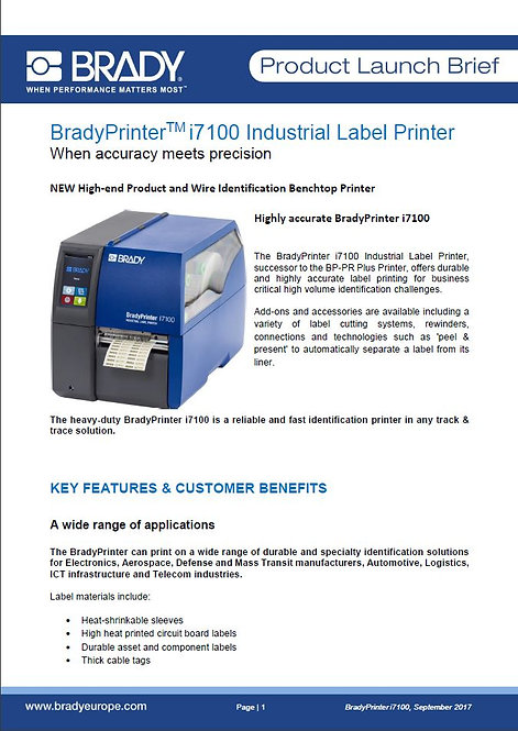 BradyPrinter_i7100_PLB_ProductLaunchBrieBradyPrinter_i7100_PLB_ProductLaunchBrie