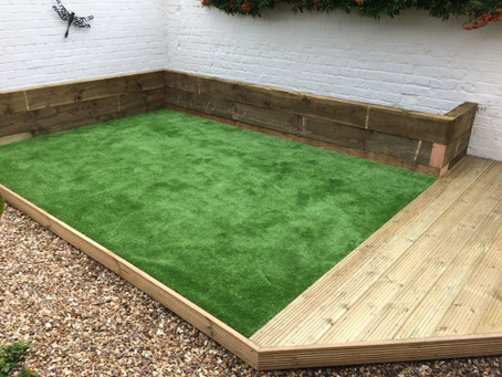 Transform old tired decking with artificial grass