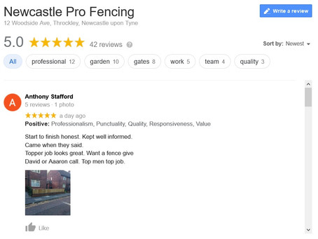 WE'VE HIT 60+ 5 STAR* REVIEWS ON GOOGLE - NEWCASTLE PRO FENCING
