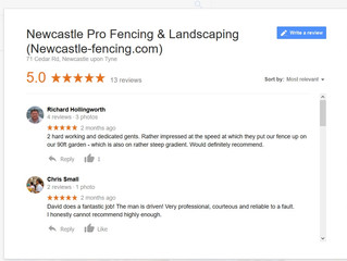 5 star fencing reviews on google - Newcastle Pro Fencing