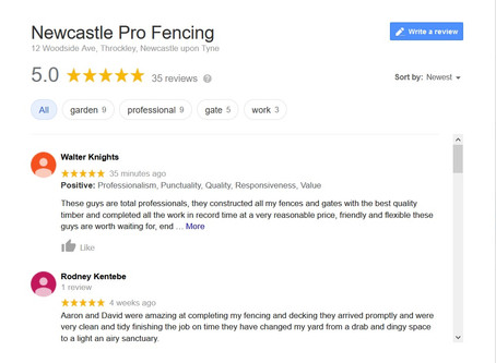 WE'VE HIT 35 x 5 STAR* REVIEWS ON GOOGLE - NEWCASTLE PRO FENCING