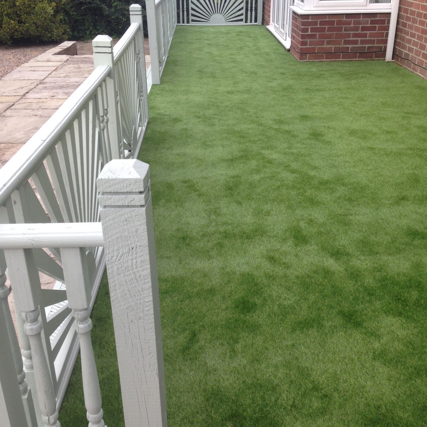 Fake grass on decking