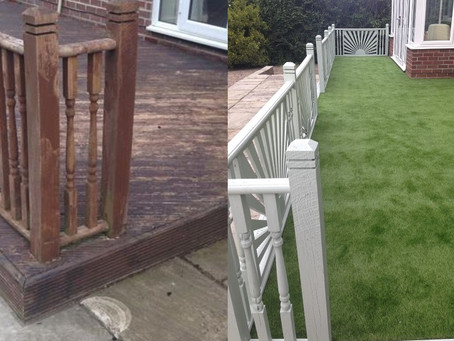 Transform your tired decking - Artificial / fake grass on decking