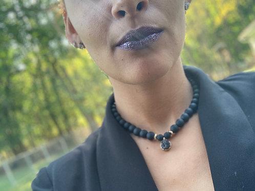 Wakanda Forever Black Obsidian x Hematite Choker