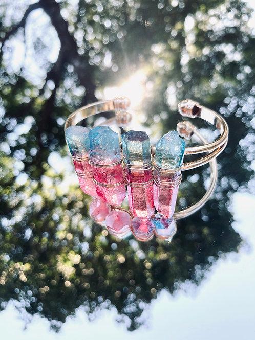 """""""Expand"""" Pink & Blue Quartz Bangle"""