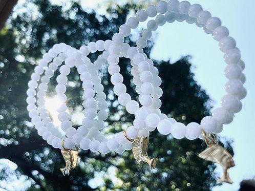 """I AM"" Queen White Quartz Bracelet"