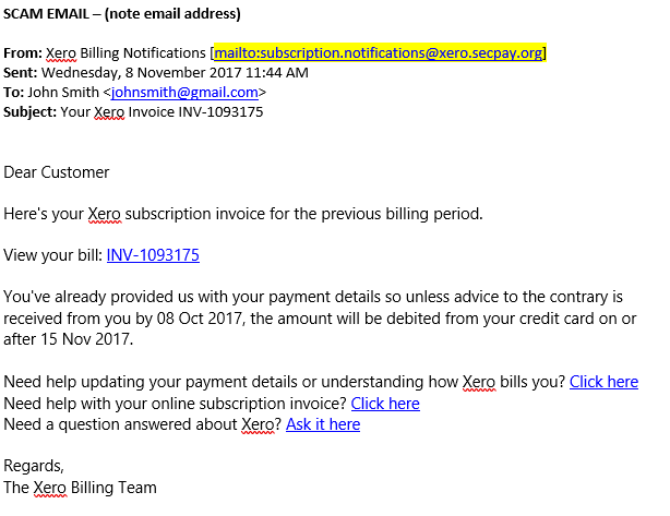 Xero Subscription Invoice Email Scam