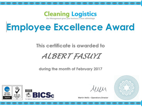 Thank you! - Employee Excellence Award February 2017