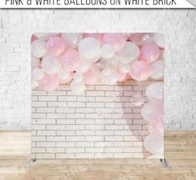 Pink + White Balloons on White Brick