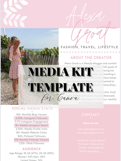 Influencer/Content Creator Media Kit for Canva