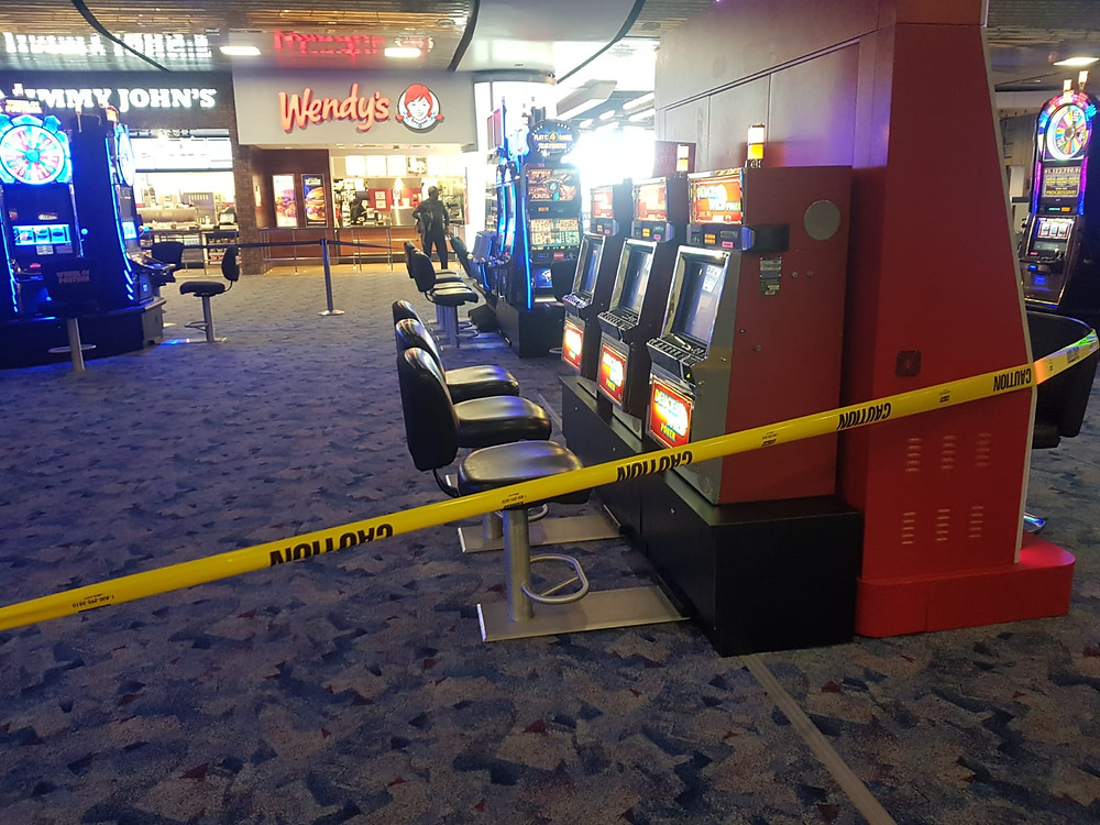 Closed gaming devices in Terminal 1 of McCarran International Airport in Las Vegas. Photo: Johannes Becht