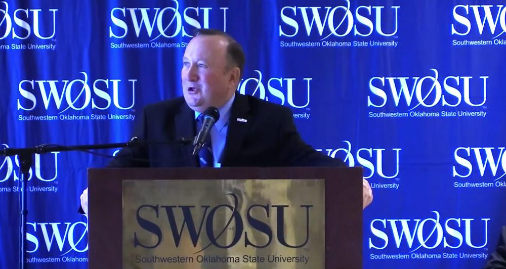 SWOSU President Randy Beutler on Tuesday morning. Photo: Screenshot Livestream