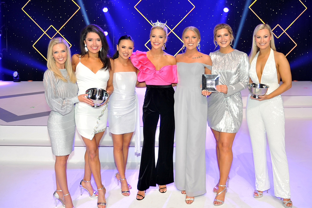 Miss SWOSU Natalee Karcher (second from the right) tied for a rookie talent award. Photo: Miss Oklahoma Website