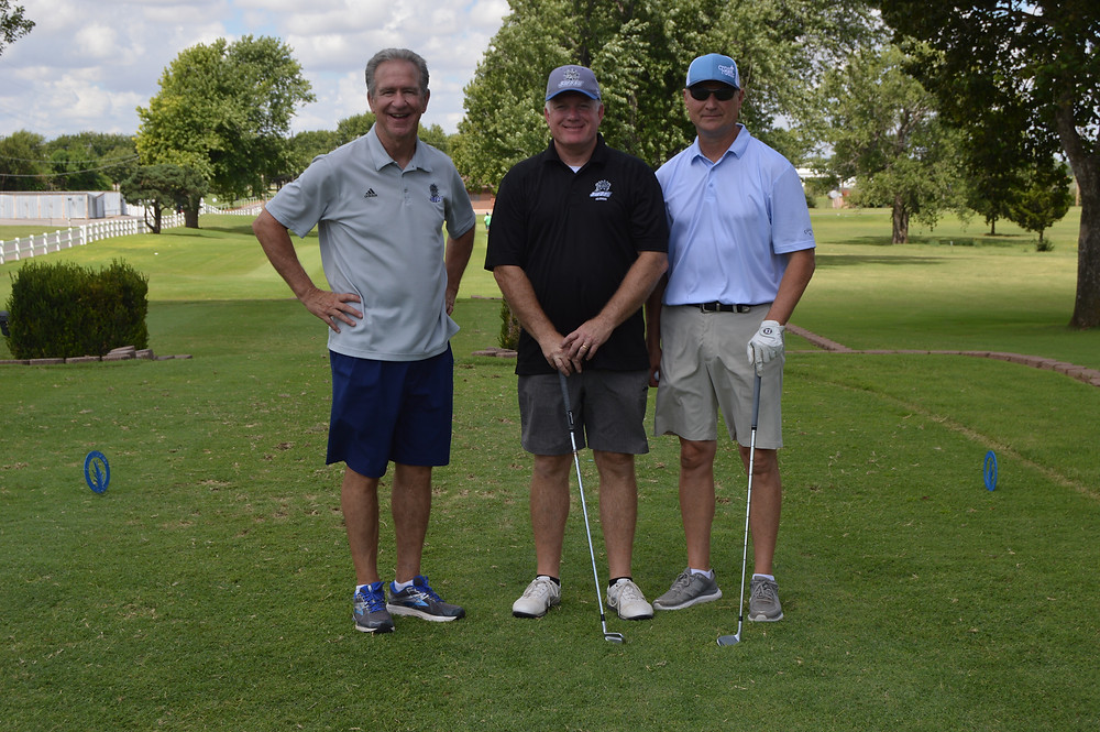SWOSU graduates Mike Brown, Todd York and Curtis Erwin enjoy the recent 2020 SWOSU Football Legacy Fund Golf Tournament held in Weatherford. Photo: Provided.