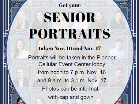Senior Portraits scheduled for Nov. 16 & 17
