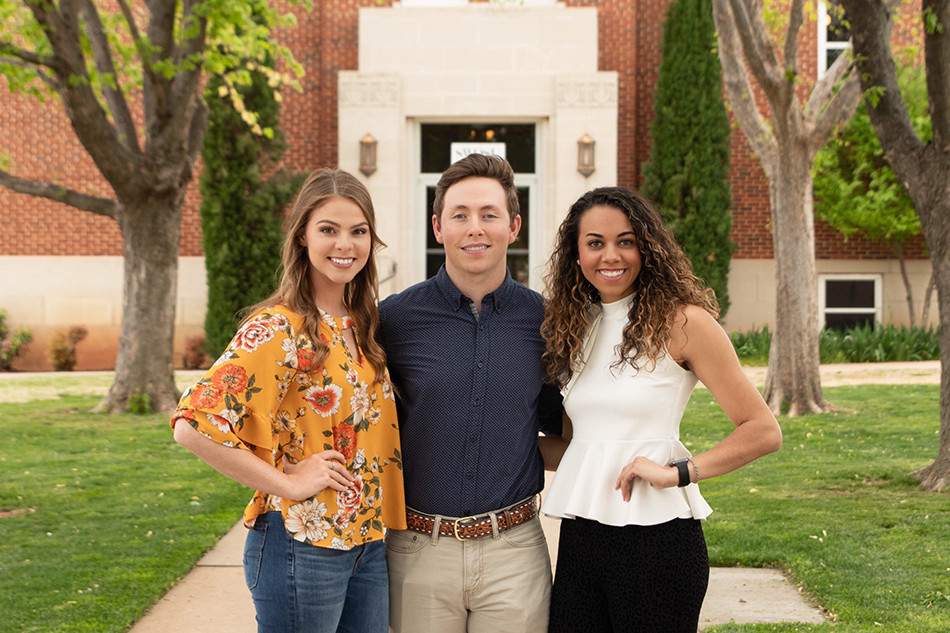 Leading the student body will be (from left): Jimmie Dollins, Altus, treasurer; Jace Zacharias, Altus (Navajo), vice president; and Jaycie Brown, Chickasha, president. Photo provided.