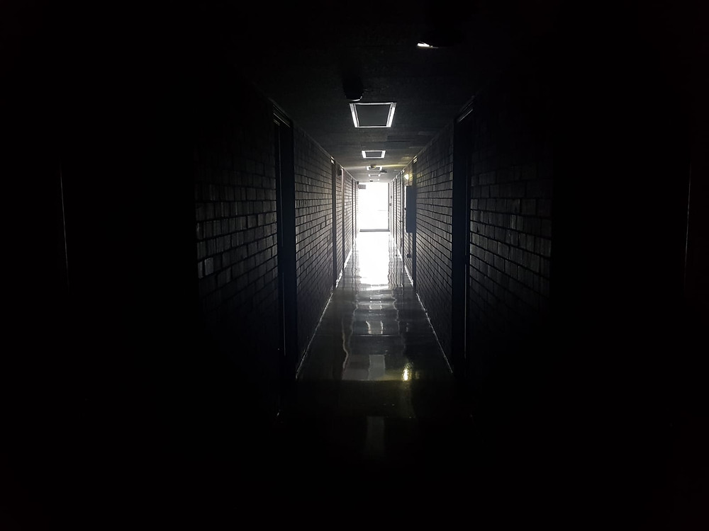 Dark floor in Oklahoma Hall during one of the several power outages on the SWOSU campus. Photo: Becht.