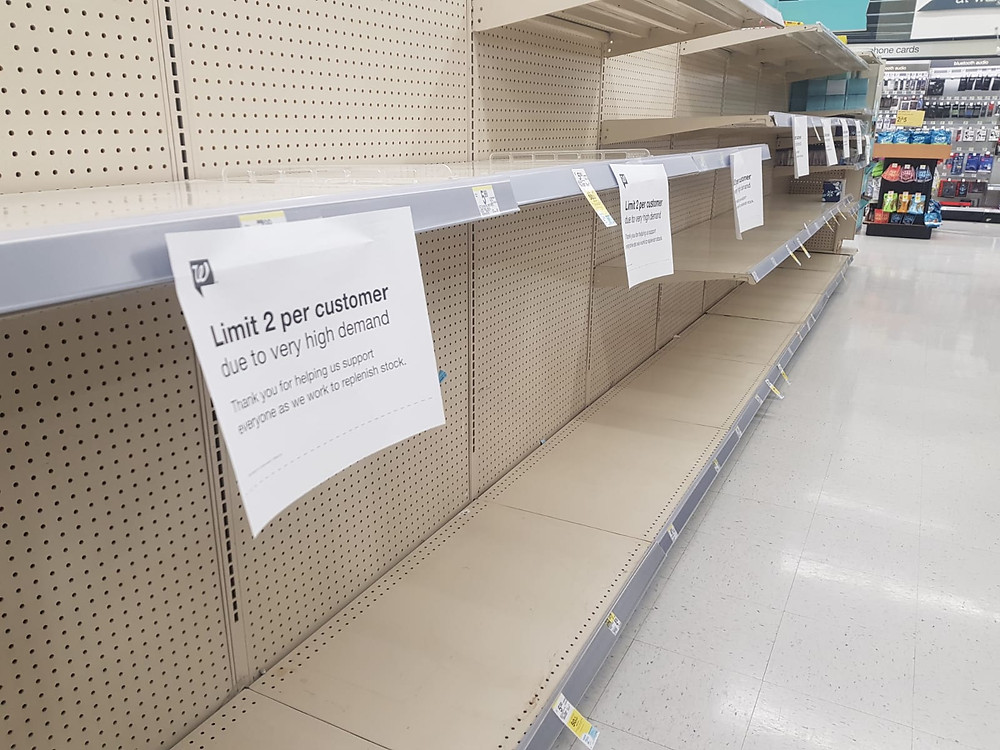 Many stores across the country ran out of toilet paper, such as this Walgreens in Paradise, Las Vegas. Photo: Johannes Becht