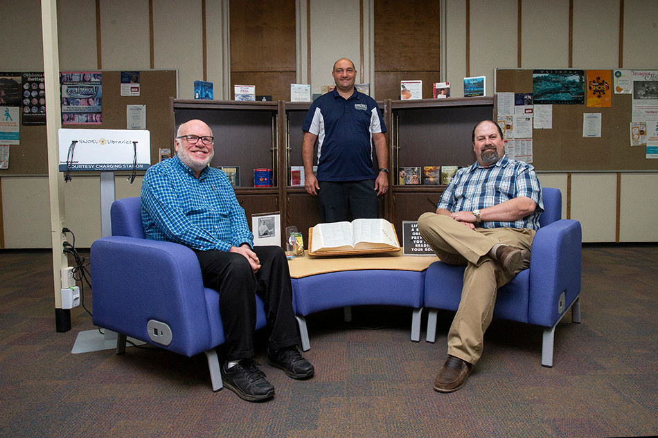 SWOSU Libraries on the Weatherford and Sayre campuses have many great resources to support research. Assisting a recent SWOSU class project led by Dr. Jeremy Evert (middle) were Phillip Fitzsimmons (left) and Jason Dupree. Fitzsimmons is head of reference and digitization, and Dupree is director of the Al Harris Library. Photo: Provided.