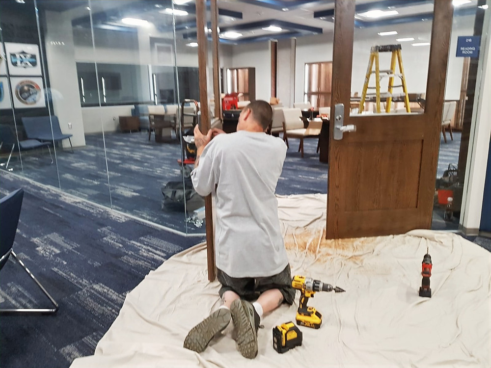 Work on the door to the Thomas Stafford Archives in SWOSU's Al Harris Library. Photo: Johannes Becht