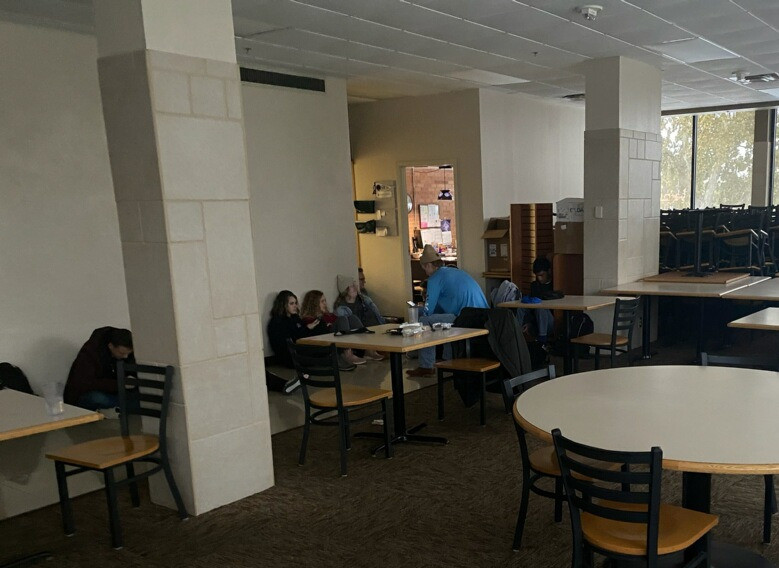 SWOSU students hiding in the cafeteria during the active shooter lockdown on Tuesday. Photo: Johannes Becht.