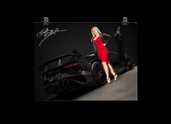 Heather Ballentine with Aventador SV Roadster