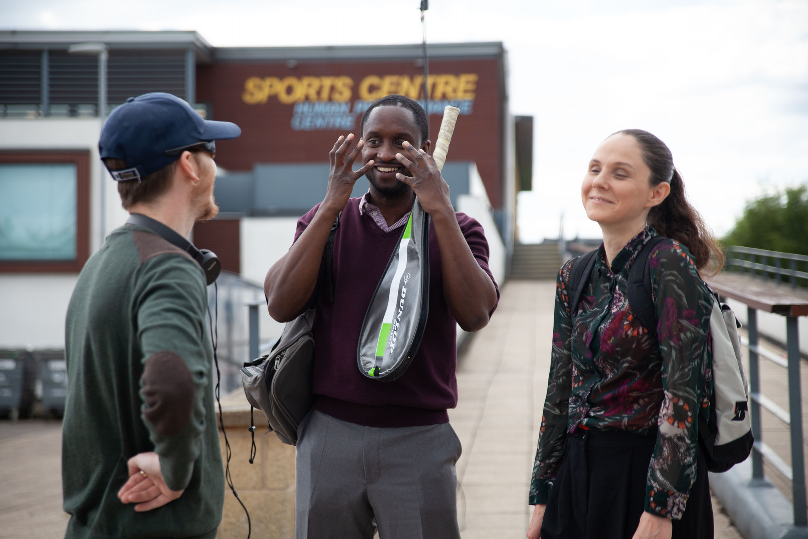 Peter Bankolé & Eilis Cahill on the set of 'Mind-set'