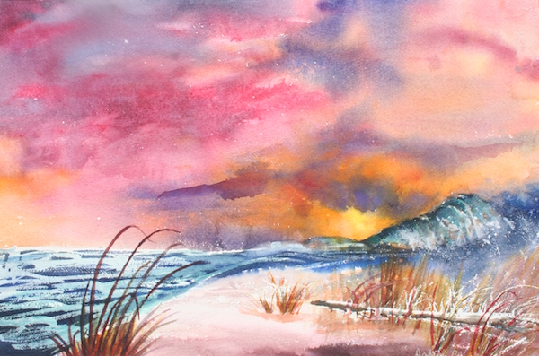 Sunset at the beach watercolor 22x 18 $350 on exhibit at Chico Brest Center
