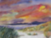 Marsh Sunrise, Watercolor