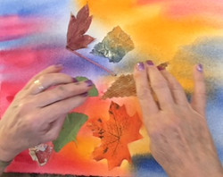 Applying texture to a painting.
