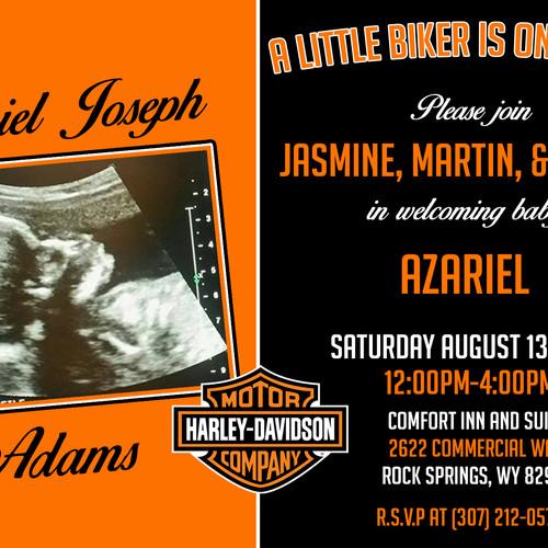 Harley Davidson Baby Shower Invitation